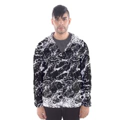 Black And White Abstract Textured Print Men s Hooded Windbreaker