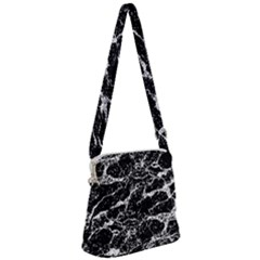Black And White Abstract Textured Print Zipper Messenger Bag
