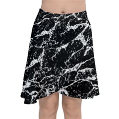 Black And White Abstract Textured Print Chiffon Wrap Front Skirt