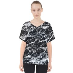 Black And White Abstract Textured Print V-neck Dolman Drape Top