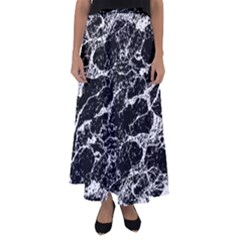 Black And White Abstract Textured Print Flared Maxi Skirt