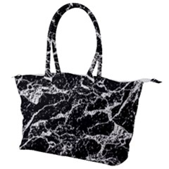 Black And White Abstract Textured Print Canvas Shoulder Bag