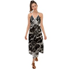 Black And White Abstract Textured Print Halter Tie Back Dress