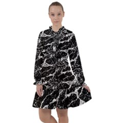 Black And White Abstract Textured Print All Frills Chiffon Dress