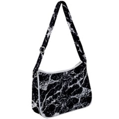 Black And White Abstract Textured Print Zip Up Shoulder Bag