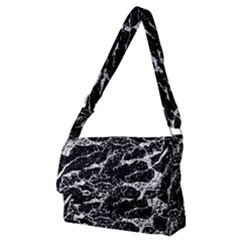 Black And White Abstract Textured Print Full Print Messenger Bag (m)
