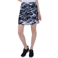 Black And White Abstract Textured Print Tennis Skirt