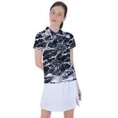 Black And White Abstract Textured Print Women s Polo Tee