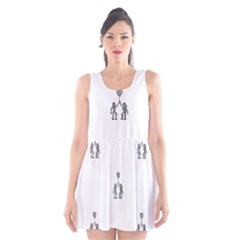 Love Symbol Drawing Scoop Neck Skater Dress