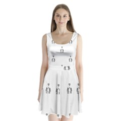 Love Symbol Drawing Split Back Mini Dress