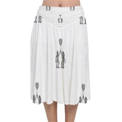 Love Symbol Drawing Velvet Flared Midi Skirt