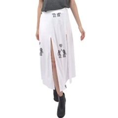 Love Symbol Drawing Velour Split Maxi Skirt
