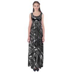 Black And White Intricate Geometric Print Empire Waist Maxi Dress
