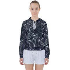 Black And White Intricate Geometric Print Women s Tie Up Sweat