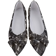 Black And White Intricate Geometric Print Women s Bow Heels