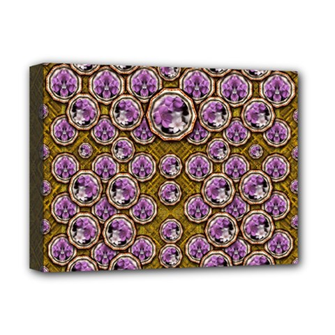 Gold Plates With Magic Flowers Raining Down Deluxe Canvas 16  X 12  (stretched)  by pepitasart