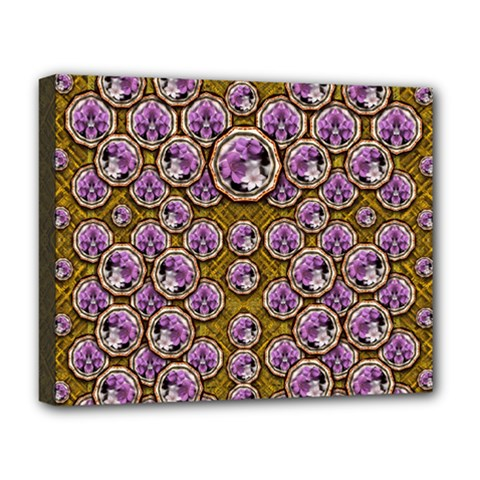Gold Plates With Magic Flowers Raining Down Deluxe Canvas 20  X 16  (stretched) by pepitasart