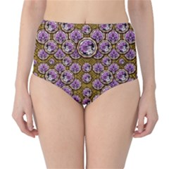 Gold Plates With Magic Flowers Raining Down Classic High-waist Bikini Bottoms