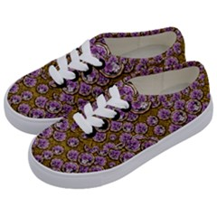 Gold Plates With Magic Flowers Raining Down Kids  Classic Low Top Sneakers by pepitasart