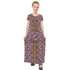 Gold Plates With Magic Flowers Raining Down Kids  Short Sleeve Maxi Dress by pepitasart