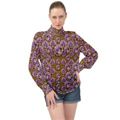Gold Plates With Magic Flowers Raining Down High Neck Long Sleeve Chiffon Top by pepitasart