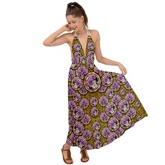 Gold Plates With Magic Flowers Raining Down Backless Maxi Beach Dress