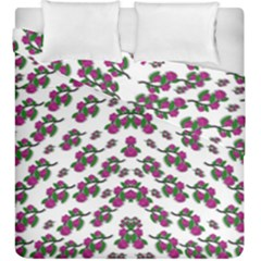 Sakura Blossoms On White Color Duvet Cover Double Side (king Size) by pepitasart