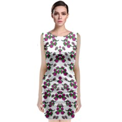 Sakura Blossoms On White Color Classic Sleeveless Midi Dress by pepitasart