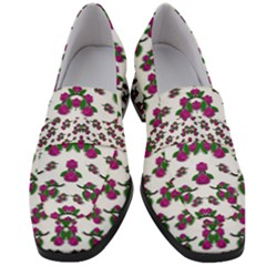 Sakura Blossoms On White Color Women s Chunky Heel Loafers by pepitasart