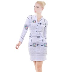 Ipaused2 Button Long Sleeve Dress by ChezDeesTees