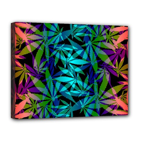 420 Ganja Pattern, Weed Leafs, Marihujana In Colors Canvas 14  X 11  (stretched)