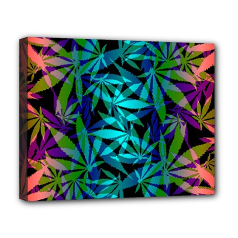 420 Ganja Pattern, Weed Leafs, Marihujana In Colors Deluxe Canvas 20  X 16  (stretched)