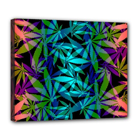 420 Ganja Pattern, Weed Leafs, Marihujana In Colors Deluxe Canvas 24  X 20  (stretched)