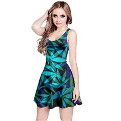 420 Ganja Pattern, Weed Leafs, Marihujana In Colors Reversible Sleeveless Dress