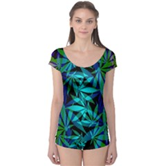 420 Ganja Pattern, Weed Leafs, Marihujana In Colors Boyleg Leotard