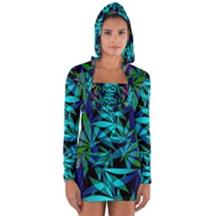 420 Ganja Pattern, Weed Leafs, Marihujana In Colors Long Sleeve Hooded T-shirt