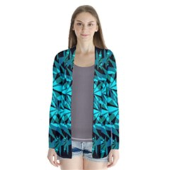 420 Ganja Pattern, Weed Leafs, Marihujana In Colors Drape Collar Cardigan