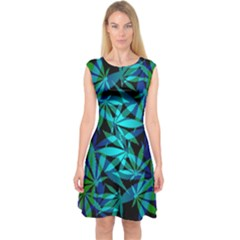 420 Ganja Pattern, Weed Leafs, Marihujana In Colors Capsleeve Midi Dress