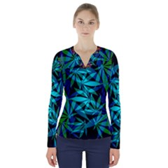 420 Ganja Pattern, Weed Leafs, Marihujana In Colors V-neck Long Sleeve Top