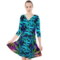 420 Ganja Pattern, Weed Leafs, Marihujana In Colors Quarter Sleeve Front Wrap Dress