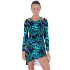 420 Ganja Pattern, Weed Leafs, Marihujana In Colors Asymmetric Cut-out Shift Dress
