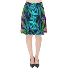 420 Ganja Pattern, Weed Leafs, Marihujana In Colors Velvet High Waist Skirt
