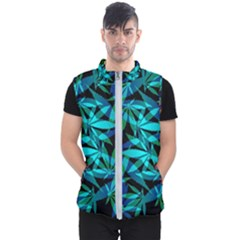 420 Ganja Pattern, Weed Leafs, Marihujana In Colors Men s Puffer Vest
