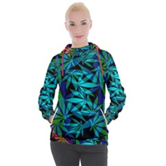 420 Ganja Pattern, Weed Leafs, Marihujana In Colors Women s Hooded Pullover