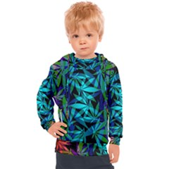 420 Ganja Pattern, Weed Leafs, Marihujana In Colors Kids  Hooded Pullover