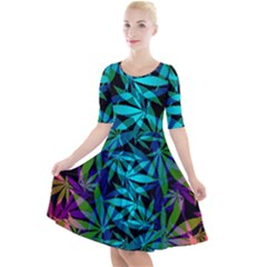 420 Ganja Pattern, Weed Leafs, Marihujana In Colors Quarter Sleeve A-line Dress