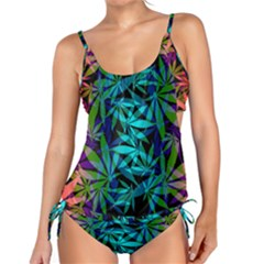 420 Ganja Pattern, Weed Leafs, Marihujana In Colors Tankini Set