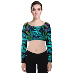 420 Ganja Pattern, Weed Leafs, Marihujana In Colors Velvet Long Sleeve Crop Top
