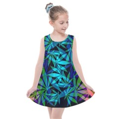 420 Ganja Pattern, Weed Leafs, Marihujana In Colors Kids  Summer Dress