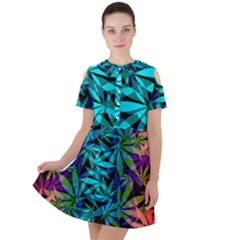 420 Ganja Pattern, Weed Leafs, Marihujana In Colors Short Sleeve Shoulder Cut Out Dress